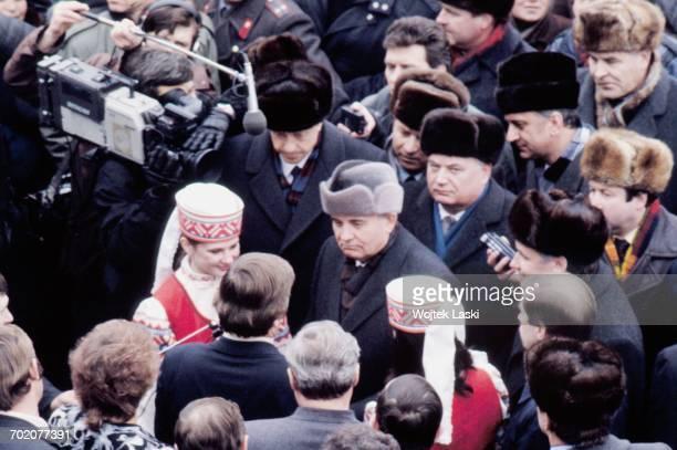General Secretary of the Communist Party of the Soviet Union Mikhail Gorbachev in Gomel Belorussian Soviet Socialist Republic 1991