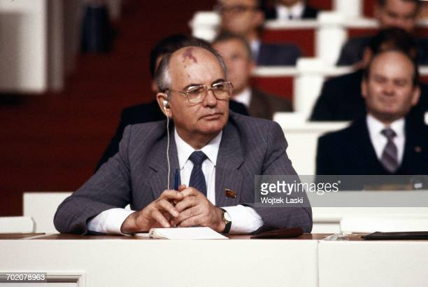 General Secretary of the Communist Party of the Soviet Union Mikhail Gorbachev at the 10th Congress of the Polish United Workers' Party Warsaw Poland...