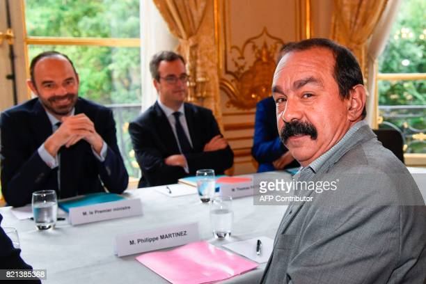 General Secretary of the General Confederation of Labour union Philippe Martinez attends a meeting with French Prime Minister Edouard Philippe at the...