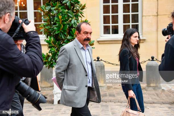 General Secretary of the General Confederation of Labour union Philippe Martinez leaves following a meeting with the French Prime Minister and the...