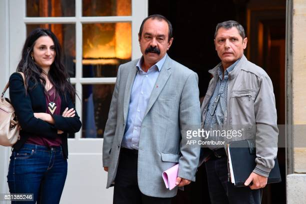 General Secretary of the General Confederation of Labour union Philippe Martinez and delegates arrive for a meeting with the French Prime Minister at...