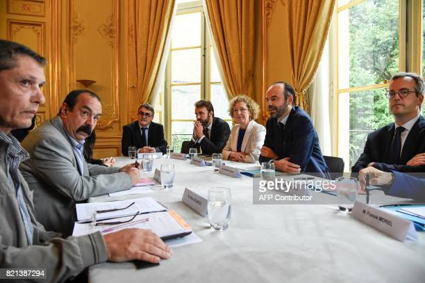 General Secretary of the General Confederation of Labour union Philippe Martinez and delegate Manu Blanco attend a meeting with French Prime Minister...