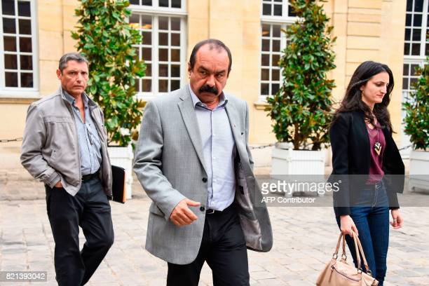 General Secretary of the General Confederation of Labour union Philippe Martinez and CGT delegate Manu Blanco leave following a meeting with the...