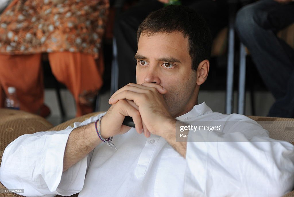 General Secretary of the Indian National Congress, <a gi-track='captionPersonalityLinkClicked' href=/galleries/search?phrase=Rahul+Gandhi&family=editorial&specificpeople=171802 ng-click='$event.stopPropagation()'>Rahul Gandhi</a> watches the action during the 2011 ICC World Cup second Semi-Final between India and Pakistan at Punjab Cricket Association (PCA) Stadium on March 30, 2011 in Mohali, India.