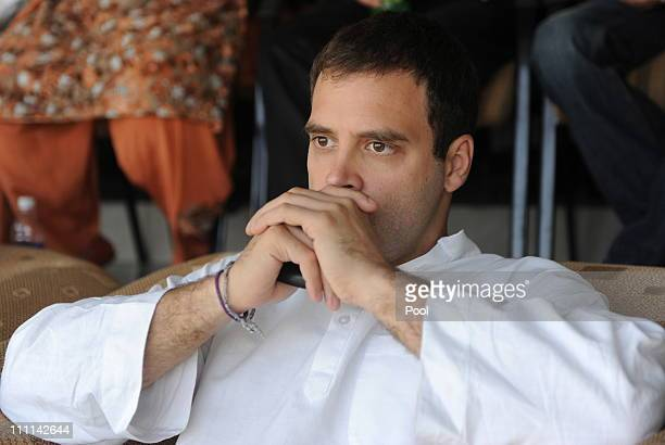 General Secretary of the Indian National Congress Rahul Gandhi watches the action during the 2011 ICC World Cup second SemiFinal between India and...