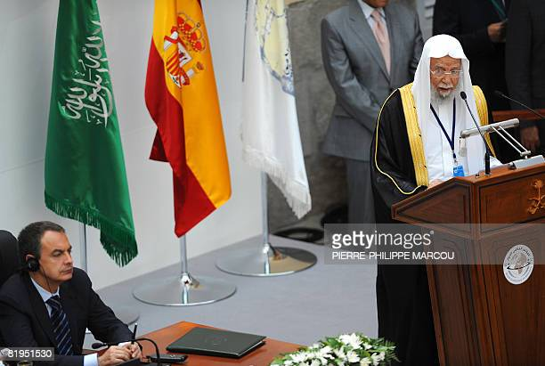 General Secretary of the Muslim World League Doctor Abdullah Ibn Abdul adresses a speech in the presence of the Spanish Prime Minister Jose Luis...