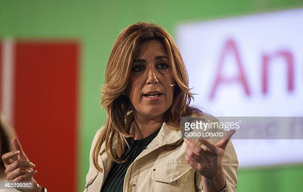 General secretary of the PSOE in Andalusia and president of the regional government Susana Diaz gestures as she takes part in PSOE gathering in...