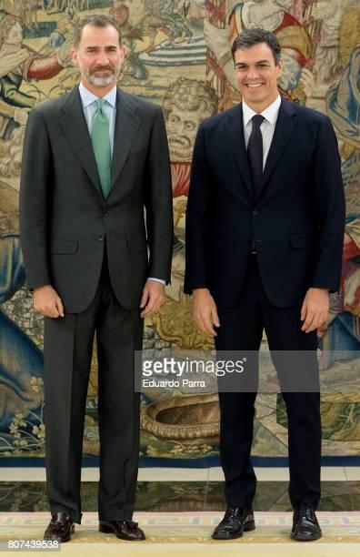 General Secretary of the PSOE Pedro Sanchez meets King Felipe VI of Spain at Zarzuela palace on July 4 2017 in Madrid Spain