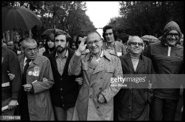 General Secretary of the Spanish Communist Party Santiago Carrillo leads the May Day celebrations in Madrid Spain 1st May 1978