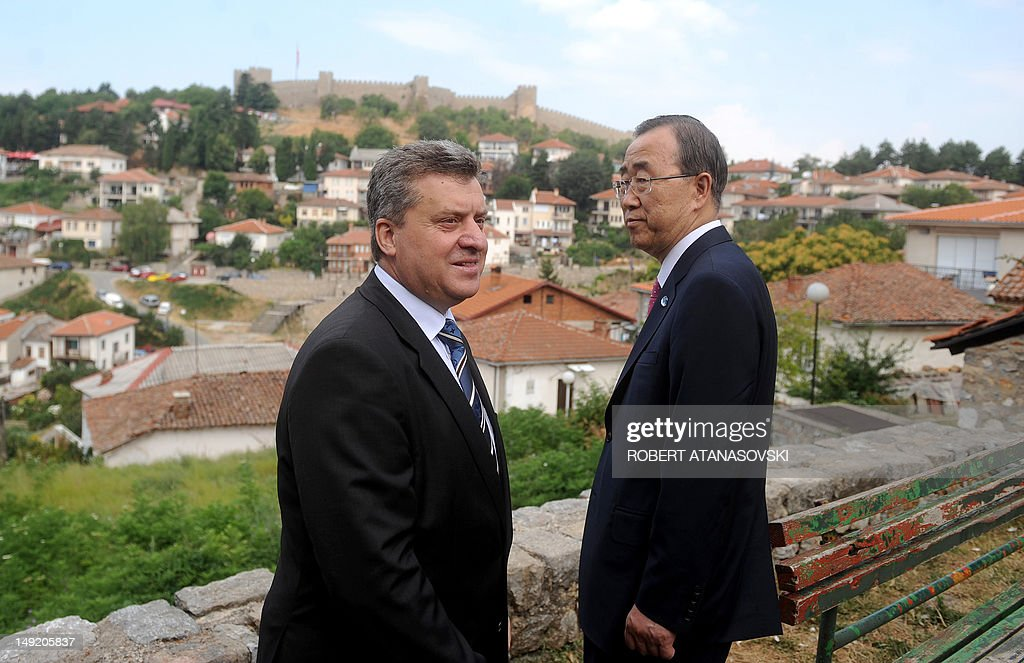 General Secretary of the UN Ban Ki Moon (R) and Macedonian President George Ivanov (L) pose for photographers in Ohrid on 25 July,2012. General Secretary of UN Ban Ki Moon arrived for an official visit to Macedonia.