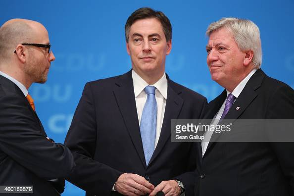 CDU General Secretary Peter Tauber leading party member David McAllister and Volker Bouffier Governor of Hesse attend the annual CDU party congress...