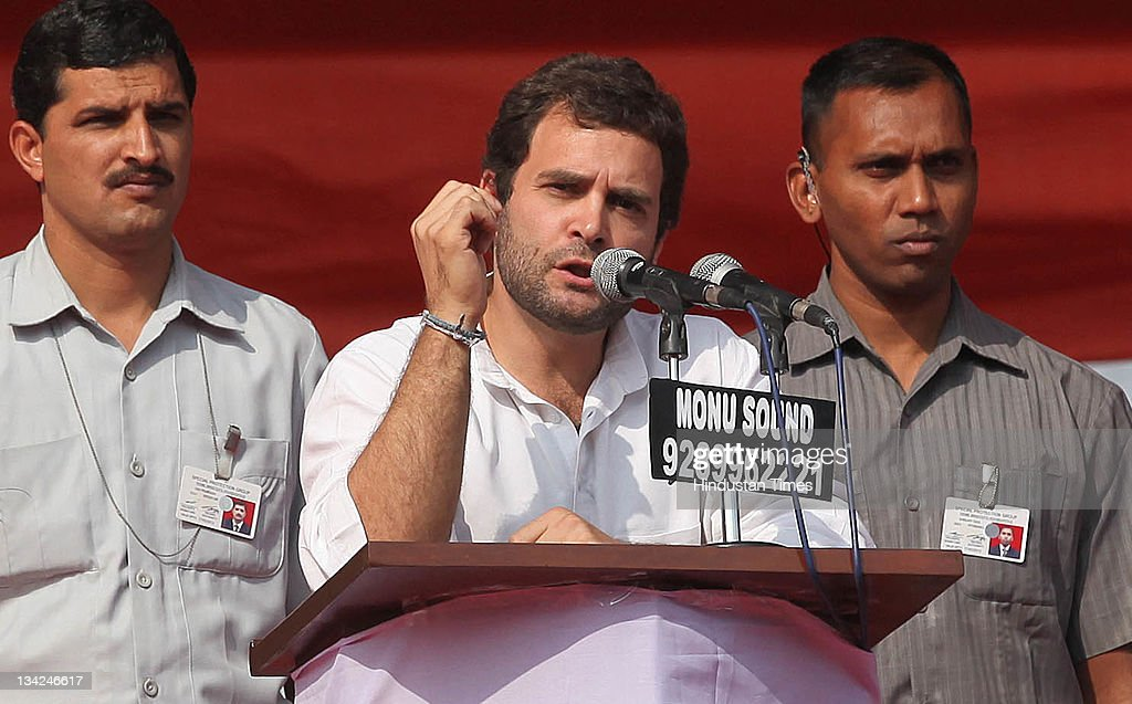 General Secretary <a gi-track='captionPersonalityLinkClicked' href=/galleries/search?phrase=Rahul+Gandhi&family=editorial&specificpeople=171802 ng-click='$event.stopPropagation()'>Rahul Gandhi</a> addresses the Youth party's national level convention of elected office bearers on November 28, 2011in New Delhi, India. Gandhi was speaking to party youth leaders asking them to go out and win the trust of the people and told them to learn to lead. <a gi-track='captionPersonalityLinkClicked' href=/galleries/search?phrase=Rahul+Gandhi&family=editorial&specificpeople=171802 ng-click='$event.stopPropagation()'>Rahul Gandhi</a> is the son of party president Sonia Gandhi who was also present at the convention.