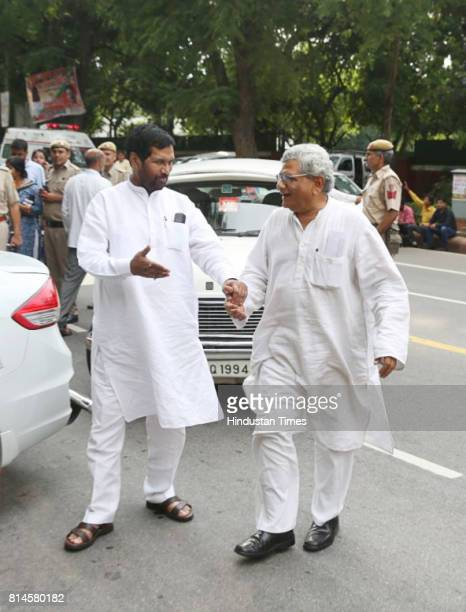 CPI General Secretary Sitaram Yechury and Consumer Affairs Minister Ram Vilas Paswan arrive for all party meeting on July 14 2017 in New Delhi India
