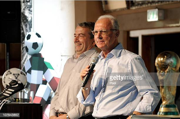 General secretary Wolfgang Niersbach and Franz Beckerbauer attend the German World Cup Team of 1990 Meeting to celebrate their 20th anniversary at...