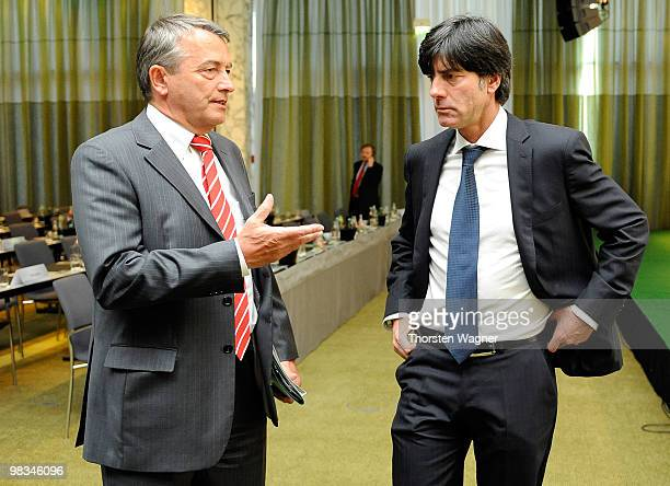 General secretary Wolfgang Niersbach and head coach of German National Football team Joachim Loew talk during the German Football Association...