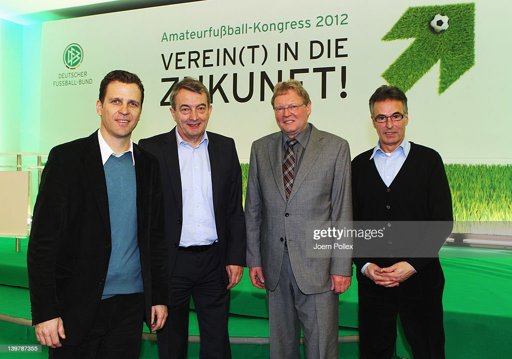 DFB general secretary <a gi-track='captionPersonalityLinkClicked' href=/galleries/search?phrase=Wolfgang+Niersbach&family=editorial&specificpeople=555796 ng-click='$event.stopPropagation()'>Wolfgang Niersbach</a> (2nd L), DFB director <a gi-track='captionPersonalityLinkClicked' href=/galleries/search?phrase=Helmut+Sandrock&family=editorial&specificpeople=2505445 ng-click='$event.stopPropagation()'>Helmut Sandrock</a> (R), DFB Vice-President <a gi-track='captionPersonalityLinkClicked' href=/galleries/search?phrase=Hermann+Korfmacher&family=editorial&specificpeople=2141699 ng-click='$event.stopPropagation()'>Hermann Korfmacher</a> (3rd L) and DFB team manager <a gi-track='captionPersonalityLinkClicked' href=/galleries/search?phrase=Oliver+Bierhoff&family=editorial&specificpeople=213661 ng-click='$event.stopPropagation()'>Oliver Bierhoff</a> (L) are pictured during the DFB Amateur Football Congress on February 25, 2012 in Kassel, Germany.