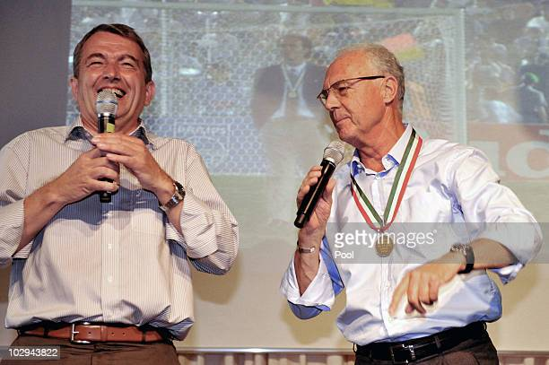 General secretary Wolfsgang Niersbach and Franz Beckerbauer attend the German World Cup Team of 1990 Meeting to celebrate their 20th anniversary at...