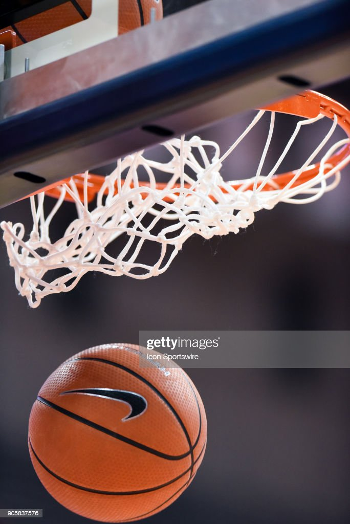 General shot of a nike basketball going through the net between the Syracuse Orange and the Pittsburgh Panthers on January 16th, 2018 at the Carrier Dome in Syracuse, NY.