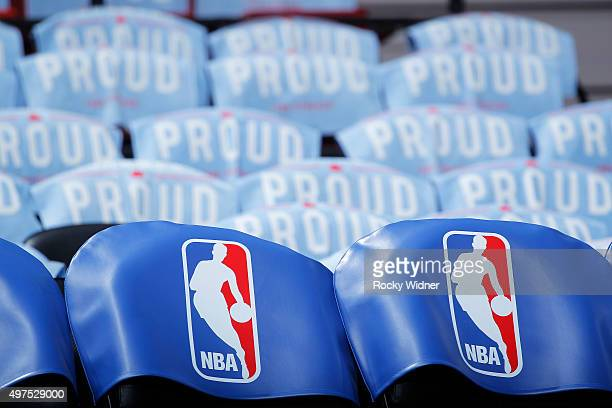 A general shot of the NBA logo inside the arena prior to the game between the Houston Rockets and Sacramento Kings on November 6 2015 at Sleep Train...