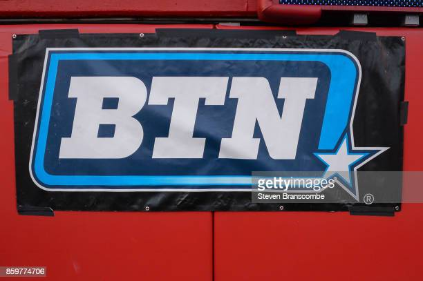 General signage for the BTN network in the stadium before the game between the Nebraska Cornhuskers and the Wisconsin Badgers at Memorial Stadium on...