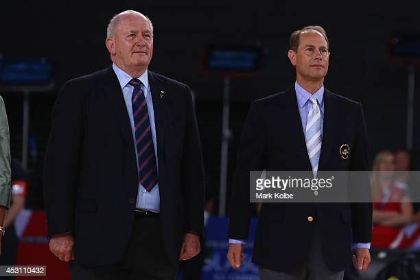 General Sir Peter Cosgrove and Prince Edward Earl of Wessex watch on during the anthems after the gold medal netball match between Australia and New...