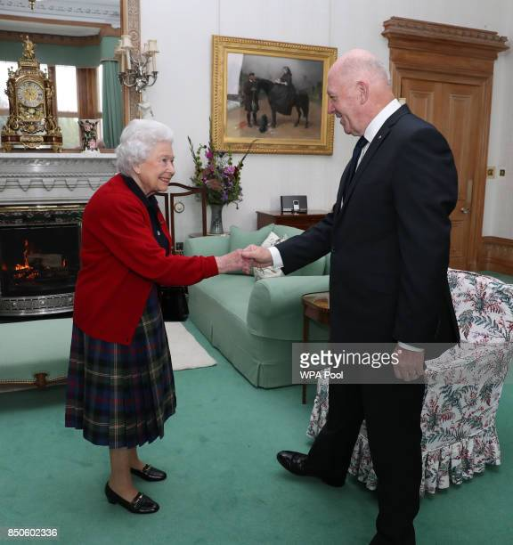 General Sir Peter Cosgrove the GovernorGeneral of Australia meets Queen Elizabeth II during a private audience in the Drawing Room at Balmoral Castle...