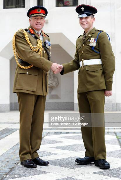 General Sir Richard Dannatt Chief of General Staff the country's most senior member of the army meets with Private Luke Coles who has just been...
