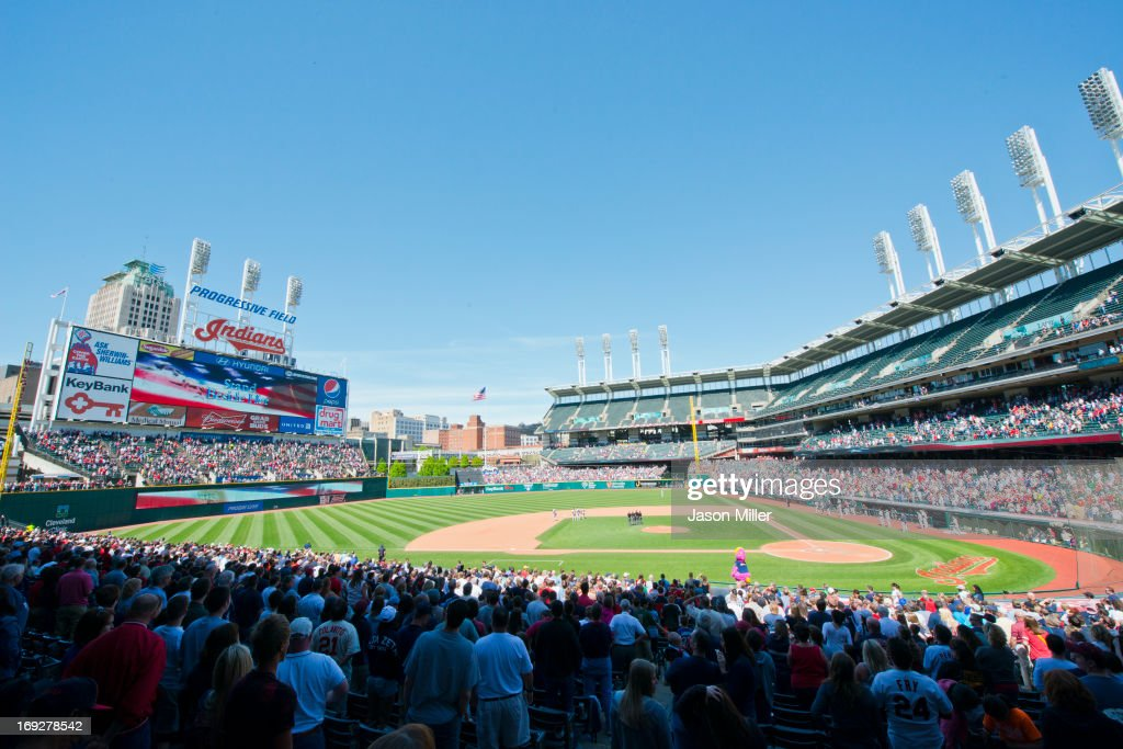 A general stadium shot looking East of Progressive Field during the game against the Minnesota Twins on May 5, 2013 in Cleveland, Ohio. The Twins defeated the Indians 4-2.