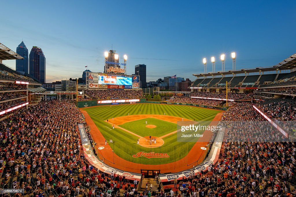 A general stadium shot of Progressive Field at dusk during the game between the Minnesota Twins and the Cleveland Indians on May 3, 2013 in Cleveland, Ohio.