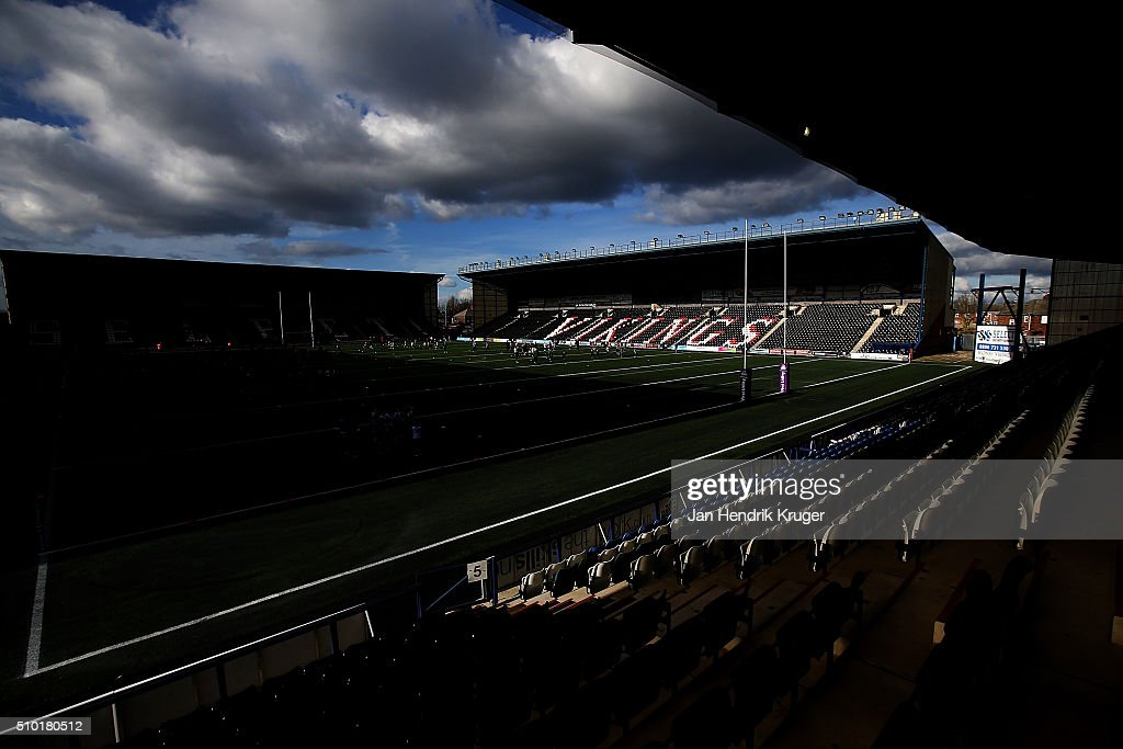 General stadium view ahead of the First Utility Super League match between Widnes Vikings and Leeds Rhinos at Select Security Stadium on February 14, 2016 in Widnes, England.