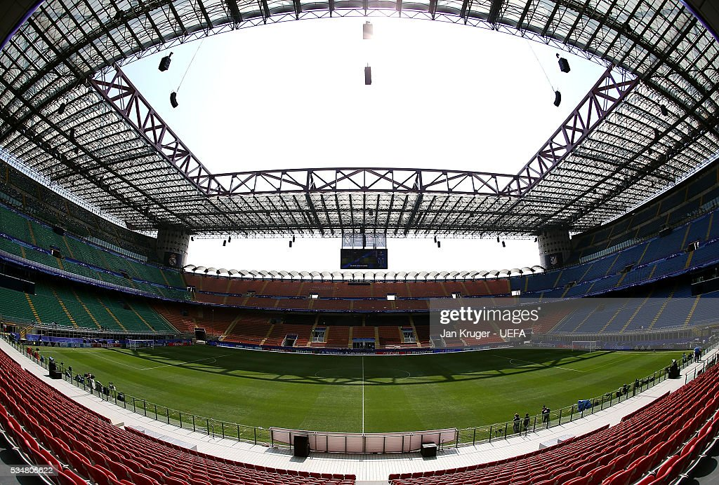 General stadium view ahead of the UEFA Champions League Final match between Athletico Madrid and Real Madrid at Stadio Giuseppe Meazza on May 28, 2016 in Milan, Italy.