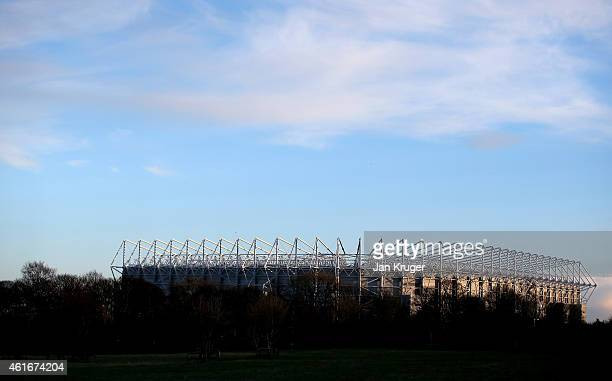 A general stadium view as the sun sets during the Barclays Premier League match between Newcastle United and Southampton at St James' Park on January...