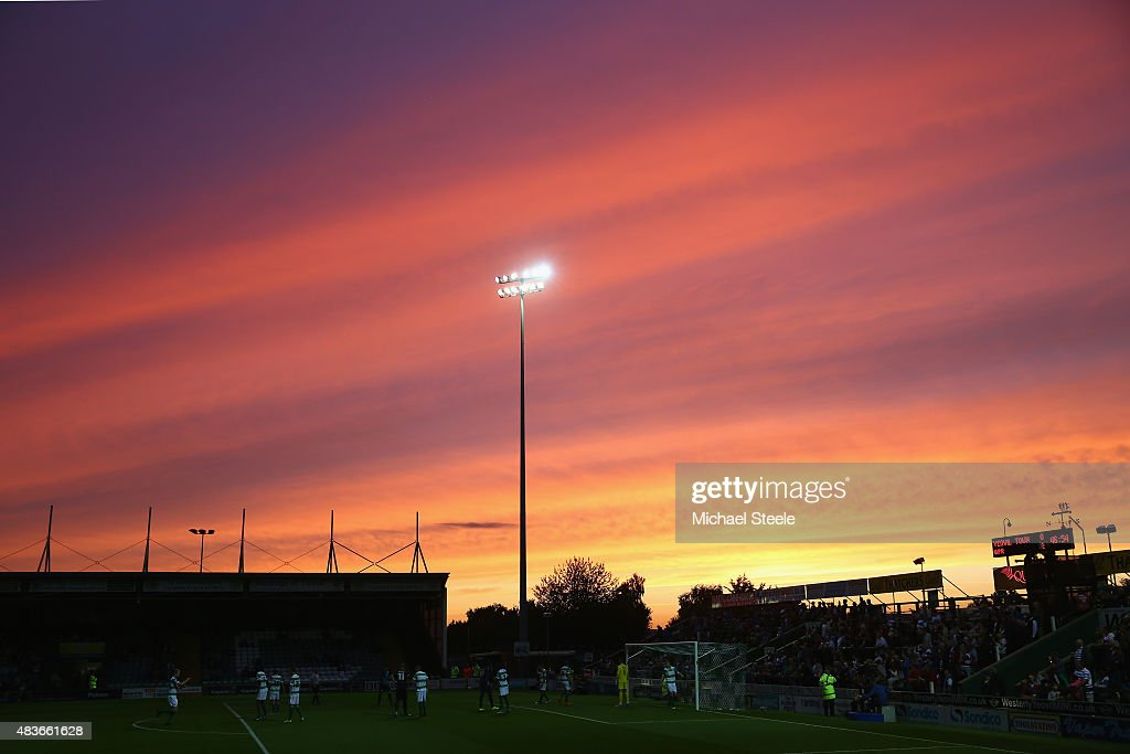 General stadium view as the sun sets during the Capital One Cup First Round match between Yeovil Town and Queens Park Rangers at Huish Park on August...