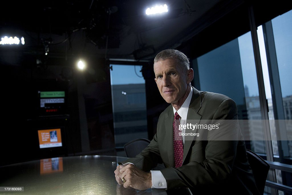 General Stanley McChrystal, chairman of Siemens Government Technologies Inc., sits for a photograph following a Bloomberg Television interview in Washington, D.C., U.S., on Tuesday, July 9, 2013. McChrystal, former commander of U.S. and NATO forces in Afghanistan, talked about the relationship between the U.S. and Afghanistan and the outlook for the full withdrawal of U.S. forces from Afghanistan. Photographer: Andrew Harrer/Bloomberg via Getty Images