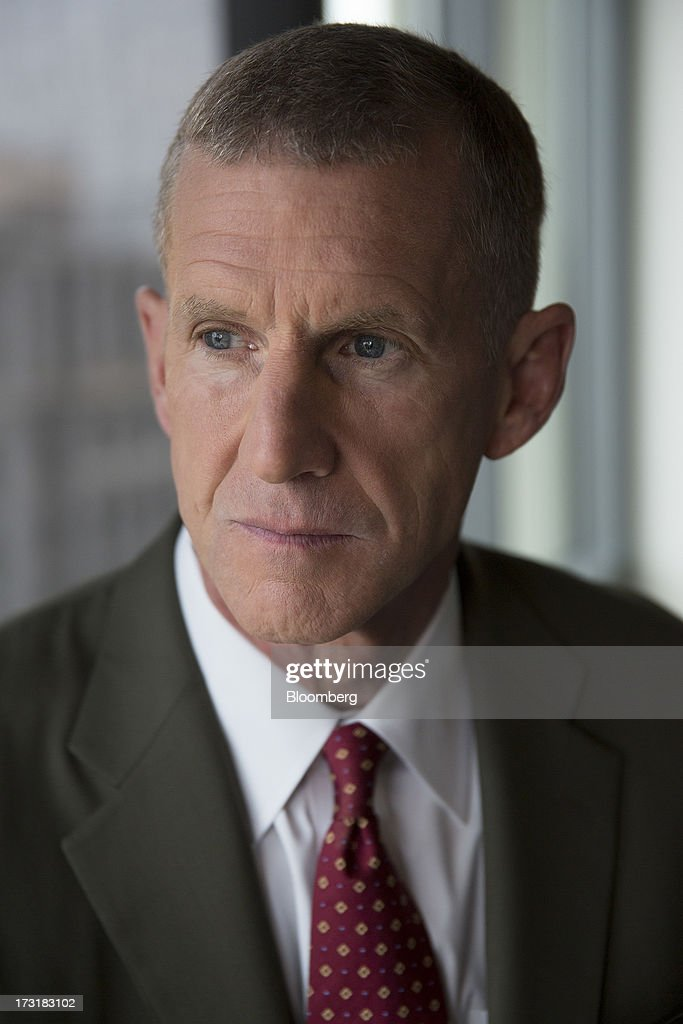 General Stanley McChrystal, chairman of Siemens Government Technologies Inc., sits for a photograph prior to a Bloomberg Television interview in Washington, D.C., U.S., on Tuesday, July 9, 2013. McChrystal, former commander of U.S. and NATO forces in Afghanistan, talked about the relationship between the U.S. and Afghanistan and the outlook for the full withdrawal of U.S. forces from Afghanistan. Photographer: Andrew Harrer/Bloomberg via Getty Images