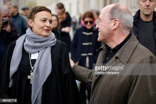 General superintendent of the Protestant church Ulrike Trautwein welcomes fraction Leader Gregor Gysi 'Die Linke' during the ecumenical Good Friday...