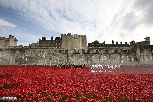 General the Lord Dannatt leads a ceremony in which the last ceramic poppy was placed in the moat of Tower of London during Armistice Day on November...