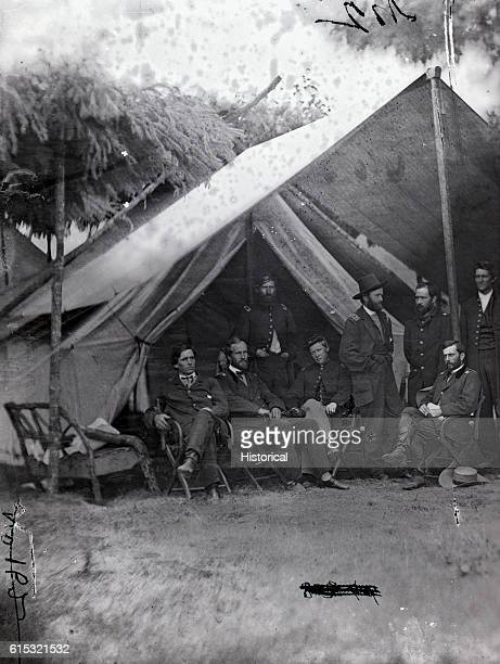 General Ulysses S Grant poses with members of his staff during the American Civil War Pictured are General Cyrus B Comstock Lieutenant Frederick D...