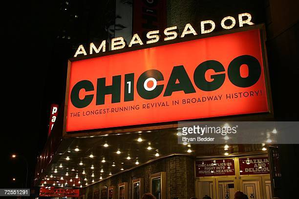A general veiw of the Marquee of the Ambassador theater during the curtain call for the 10th Anniversary of Broadway's 'Chicago' on November 14 2006...
