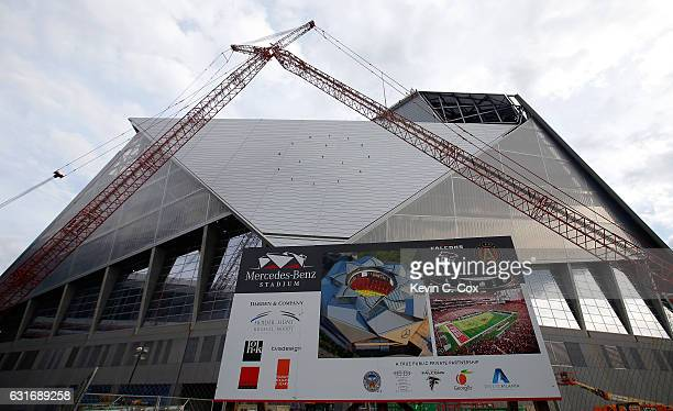 A general veiw of the new Mercedes Benz Stadium prior to the game of the Atlanta Falcons and Seattle Seahawks on January 14 2017 in Atlanta Georgia