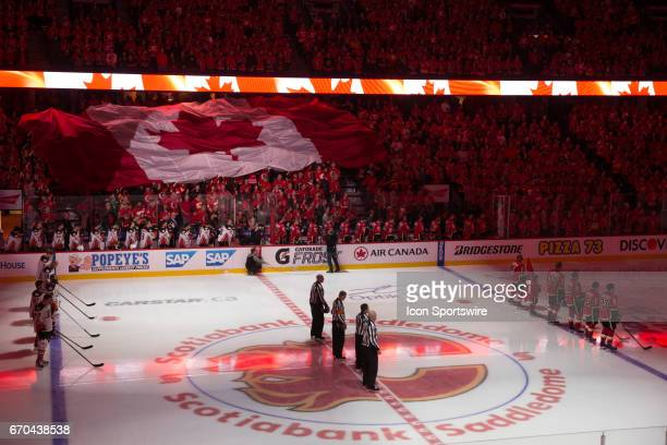 A general vie of Scotiabank Saddledome during the singing of the Canadian National Anthem during game 4 of the first round of the Stanley Cup...