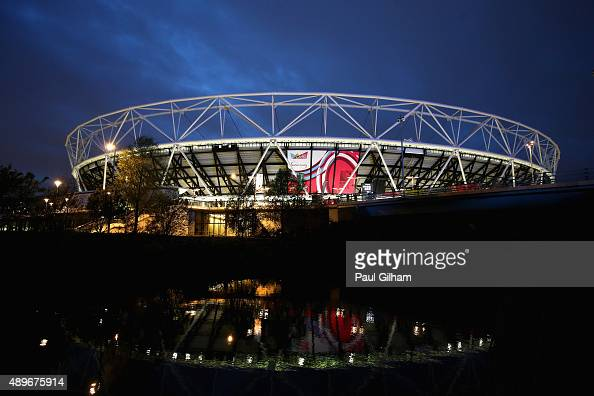 A general vierw outside the stadium prior to the 2015 Rugby World Cup Pool D match between France and Romania at the Olympic Stadium on September 23...