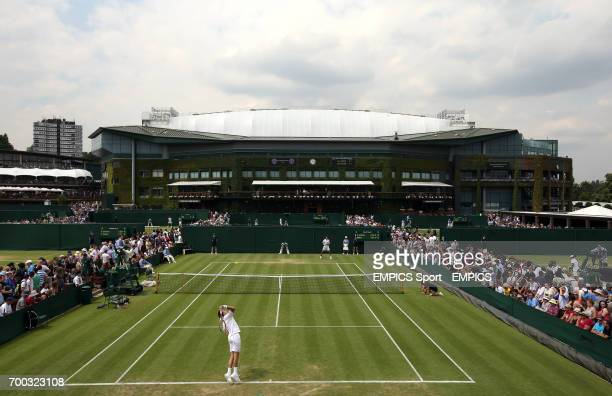 General view across court ten as France's Nicolas Mahut takes on Spain's Marcel Granollers