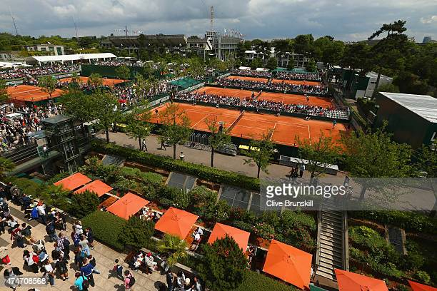 A general view across courts 10 8 and 6 on day two of the 2015 French Open at Roland Garros on May 25 2015 in Paris France