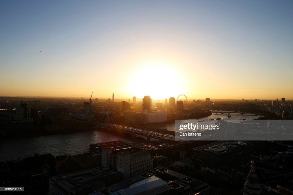 A general view across London at sunset from the Golden Gallery at St Paul's Cathedral towards the River Thames and West London on December 17, 2012 in London, England.