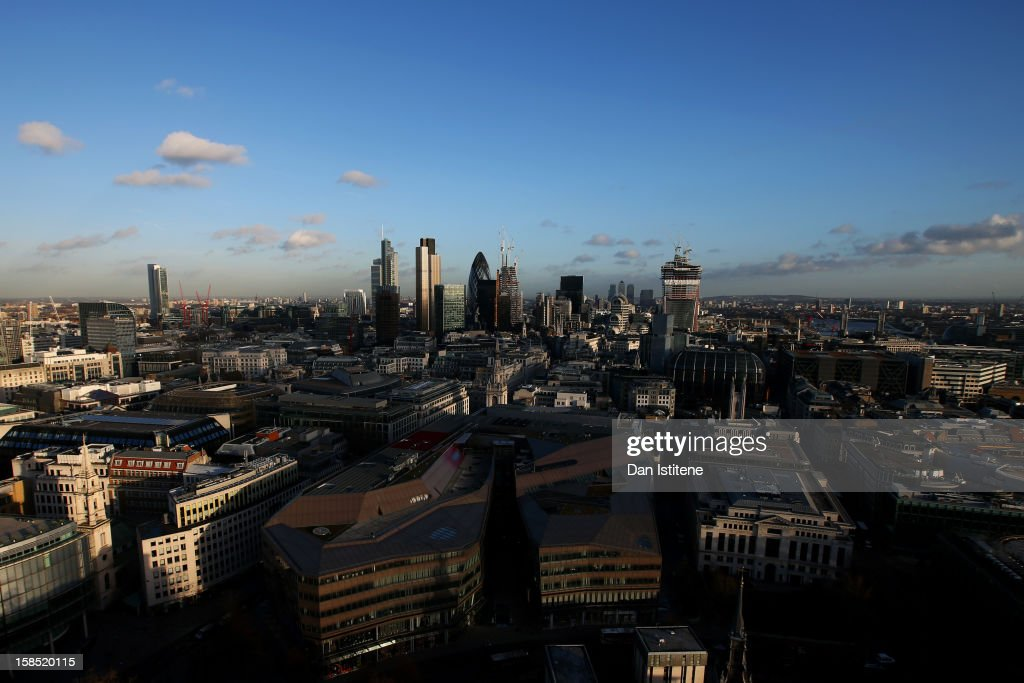 A general view across London from the Golden Gallery at St Paul's Cathedral towards the City of London on December 17 2012 in London England
