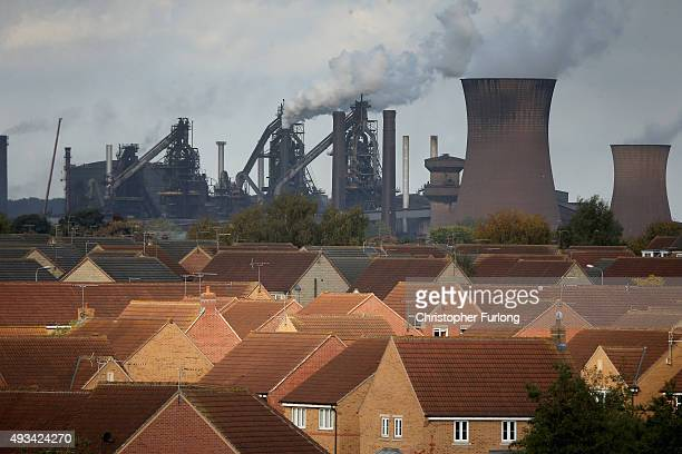 A general view across Scunthorpe and the Tata Steel processing plant after Tata announced job losses today on October 20 2015 in Scunthorpe England...