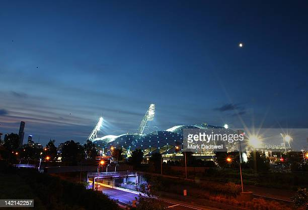 A general view across the Melbourne sports precinct during the round five NRL match between the Melbourne Storm and the Newcastle Knights at AAMI...