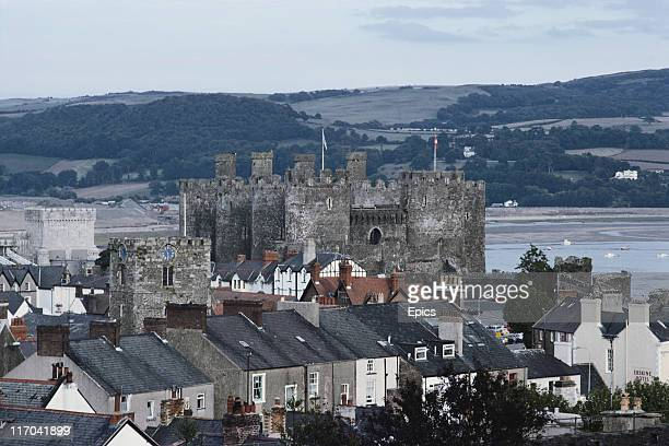 A general view across town from the west wall of Conwy Castle a mediaeval fortress built between 1283 and 1289 during King Edward I's second campaign...
