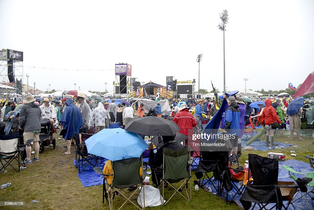 A general view after a torrential rain storm at the 2016 New Orleans Jazz & Heritage Festival Day Six causing the Festival to be cancelled for the day at Fair Grounds Race Course on April 30, 2016 in New Orleans, Louisiana.